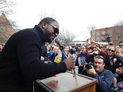 Ortiz speaking to the crowd in Concord